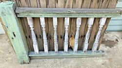 Antique Turned Balustrade/spindle Porch Rail W/ Knoll Post. Green And White Paint