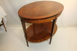 19th Century Sheraton Inlaid Marquetry Rosewood And Satinwood Oval Center Table