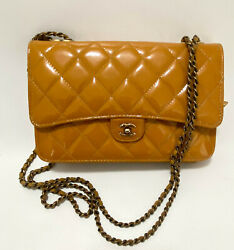 Burnt Orange Goat And Patent Limited Ed. Wallet On Chain Crossbody Bag 2015