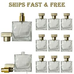 Empty Glass Perfume Square Spray Bottles Lot 25ml Metal Gold Atomizer Decant