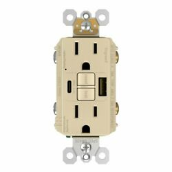 Gfci With Usb-ac Charging Combo Outlet, Tamper Resistant, 15a, Ivory