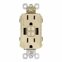Gfci With Usb-aa Charging Combo Outlet, Tamper Resistant, 15a, Ivory
