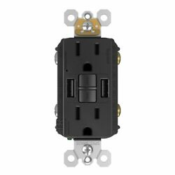 Gfci With Usb-aa Charging Combo Outlet, Tamper Resistant, 15a, Black