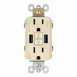 Gfci With Usb-aa Charging Combo Outlet, Tamper Resistant, 15a, Light Almond