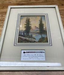 Vintage Advertising Framed Mountain, Tree Pictures, Thermometer, Chicken Feed