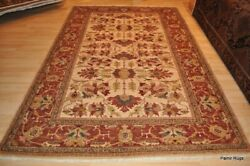 6and039x9and039 Handmade Vegetable Dyed Great Quality Rug. Colors Beige Army Green Gray