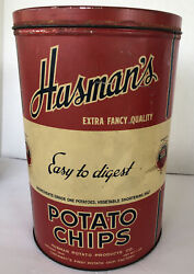 Vintage Husman's Advertising Potato Chip 1 Lb. Tin Can - Easy To Digest 4
