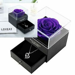 Mothers Day Gifts Preserved Real Rose With Heart Necklace I Love You Purple