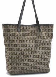 Authentic FENDI Zucchino Shoulder Tote Bag Canvas Leather Brown C7529 $288.30