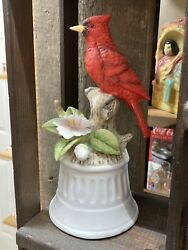 Vintage Red Cardinal Wind Up Music Box Works