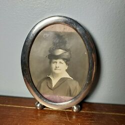 Antique Sterling Silver Stamped Oval Leaning Desk Picture Frame 17g 3.75 X 3