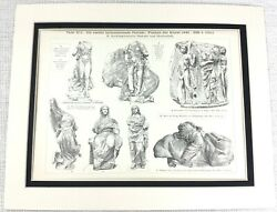 1897 Antique Print Ancient Greek Statues Grecian Temple Marbles Olympia Nike God