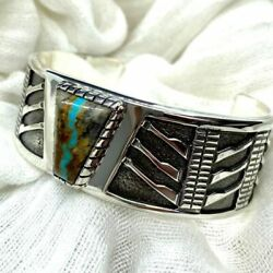 Art Deco Sterling Silver Turquoise Frank Lloyd Wright Inspired Cuff Bracelet