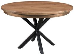 Amish Round Dining Table Modern Metal Base Solid Wood 42 48 54
