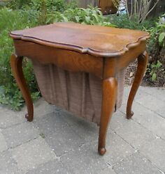 Antique English Queen Anne Regency Style Ladies Sewing Work Table
