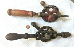 2 Pc Vintage Antique Metal Egg Beater Style Hand Drill Tool Lqqk Parts +