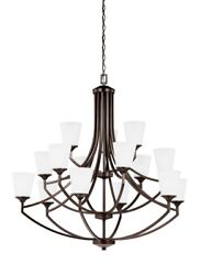 Fifteen Light 3-tier Chandelier Burnt Sienna Finish With Satin Etched Glass -
