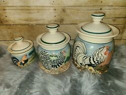 Rare Colonial Williamsburg By Oxney Green Hand Painted Rooster Canister Set 3