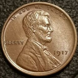 1917 P No Mint Mark Lincoln Wheat Cent Penny 1c Bu Bn Uncirculated Coin P2278