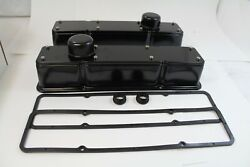 Small Block Chevy 2 Pc Tall Valve Covers Kit 58-86 Gasket And Breathers Black