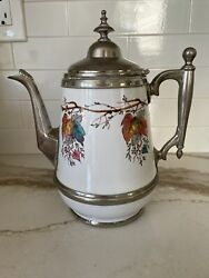 Rare Manning Bowman Co. Granitewear And Pewter Coffee Pot With Fall Leaves Vguc