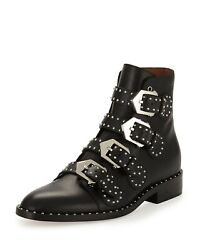 Nib Givenchy 1395 Black Multi Strap Studded Leather Ankle Boots Sz 36 / 6 Us