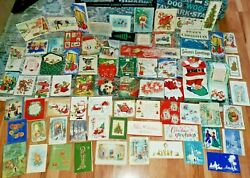 Lot Of 131 Vintage 1900andrsquos To 1960s Christmas Postcards + Cards Xmas Pop Up Mixed