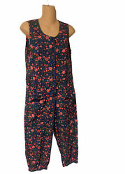 Retro 80and039s Pink Floral Pants Romper Small Cottagecore Made By Kamil 100 Cotton