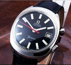Excellent Omega Chronostop Collectable Steel Black Dial Manual Winding / 34mm