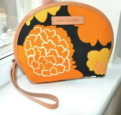 MARIMEKKO Canvas small pouch bag New Brown Orange Leather Zip Cosmetic Floral $31.11