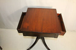 Antique Federal Cherry Side End Table With Two Drawers, 19th C. American Made