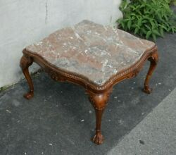 Heavily Carved 1920s English Chippendale Marble Topped Square Coffee Table