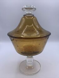 Empoli Amber Glass Controlled Bubble Covered Pedestal Candy Dish Apothecary Jar