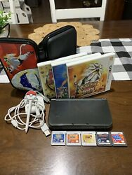 Nintendo New 3ds Xl 4gb Grey Bundle W/ Pokemon Games And Carrying Case Very Nice