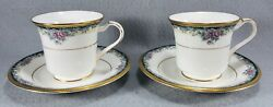 2 Sets Noritake Footed Cups And Saucers Mi Amor 4717 Pink Blue Green Gold Rim
