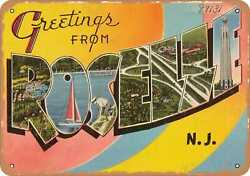 Metal Sign - New Jersey Postcard - Greetings From Roselle N. J.