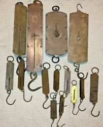 14 Brass And Iron Antique Hanging Scales Great Primitive Look Original