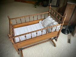 Beautiful Antique Glider Baby Rocking Crib Cradle Victorian Wood Spindles
