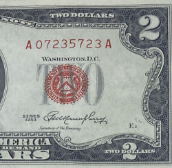 1953 $2 TWO DOLLAR NOTE LOW SERIAL NUMBERS LEGAL TENDER RED SEAL UNCIRCULATED