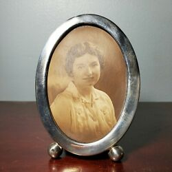 Antique Sterling Silver Miniature Oval Picture Frame W/ Green Velvet Backing 22g