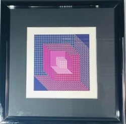 Mid Century Modern Framed Op Art Serigraph Signed By Victor Vasarely 1970s