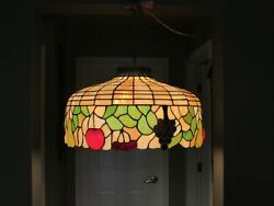 Lrg Grapes Pears Apple Cherries Leaded Slag Stained Glass Lamp Shade Chandelier