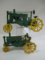 Lot Of 2 Cast Iron John Deere Op Toy Tractors Large 11x7x5 And Smaller 8x5x4 Vtg