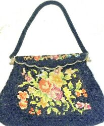 Vtg Tapestry FLORAL amp; Seed Pearl BLACK Beaded Snap Over Top Dressy Purse 9.5x7