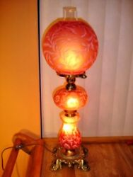 Fenton L.g.wright Satin Daisy And Fern Cranberry Lamp, Extremely Rare