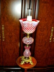Fenton L G Wright Coin Dot Honeycomb Cranberry Lamp Extremely Rare, Gwtw