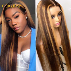 Straight Highlight Wig Closure 13x4 Lace Front Human Hair Ombre Lace Front Wig