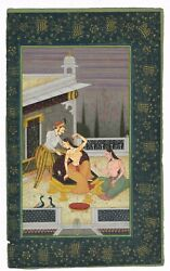 Mughal Miniature Painting Mughal Empress And Emperor With Servant Maid On Paper