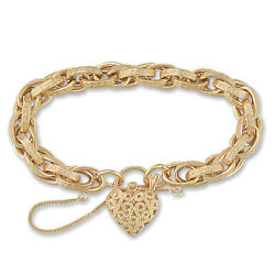 Jewelco London 9ct Gold Victorian Heart Of Wales 9mm Bracelet
