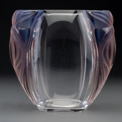 Lalique Clear And Opalescent Glass Clematites Vase In Original Box Tags